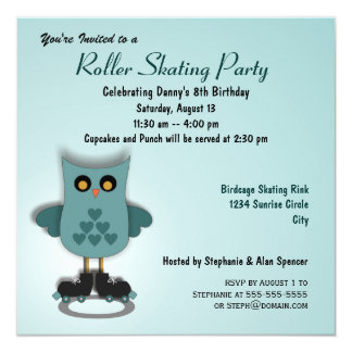 Turquoise Owl Skating Party Invitation