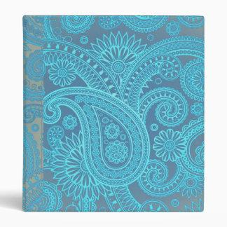 Turquoise Paisley 3 Ring Binder