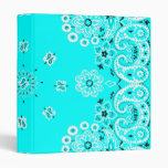 Turquoise paisley bandanna 1 inch  3 ring binder