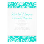 Turquoise Paisley Bridal Shower Invitations Announcement
