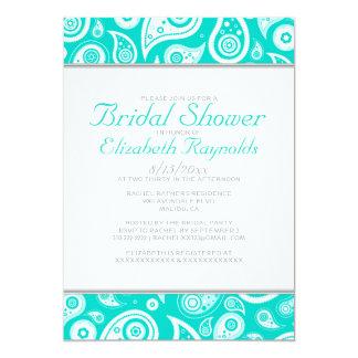 Turquoise Paisley Bridal Shower Invitations