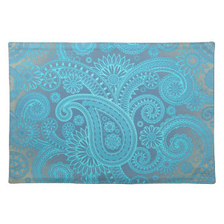 Turquoise Paisley Cloth Placemat