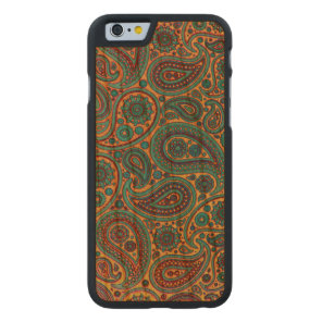 Turquoise Paisley design Carved Cherry iPhone 6 Slim Case