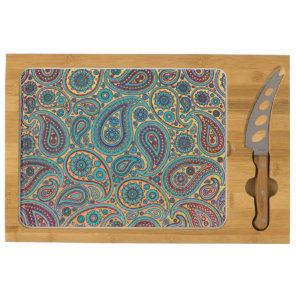 Turquoise Paisley design Cheese Board