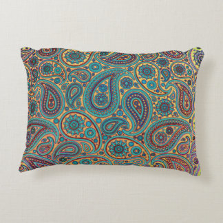 Turquoise Paisley design Decorative Pillow