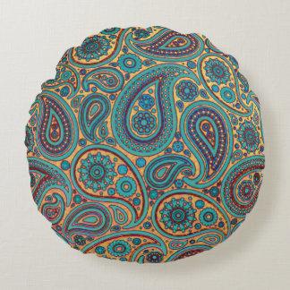 Turquoise Paisley design Round Pillow
