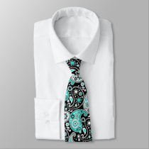 Turquoise Paisley Fancy Country Western Rancher Neck Tie