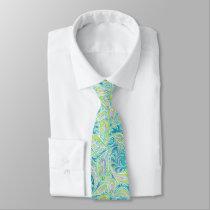 Turquoise Paisley Pattern Neck Tie