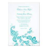 Turquoise Paisley Peacock Chic Wedding Invite