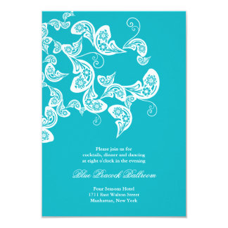 Turquoise Paisley Peacock Chic Wedding Reception Card