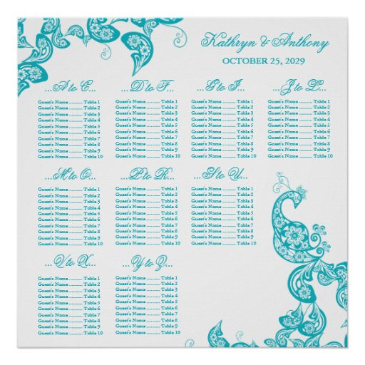 Turquoise Paisley Peacock Wedding Seating Chart Poster