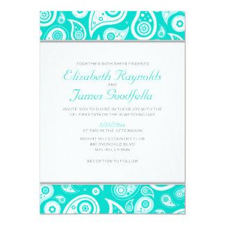 Turquoise Paisley Wedding Invitations