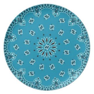 Turquoise Paisley Western Bandana Scarf Fabric Plate