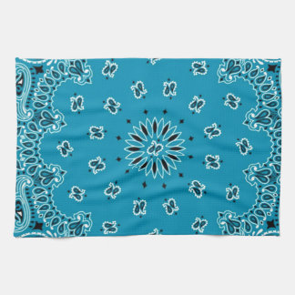Turquoise Paisley Western Bandana Scarf Print Hand Towels