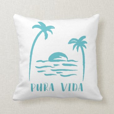 Turquoise Palm Tree Beach Pura Vida Costa Rica Throw Pillow