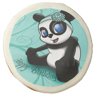 Turquoise Panda Floral Birthday Sugar Cookie