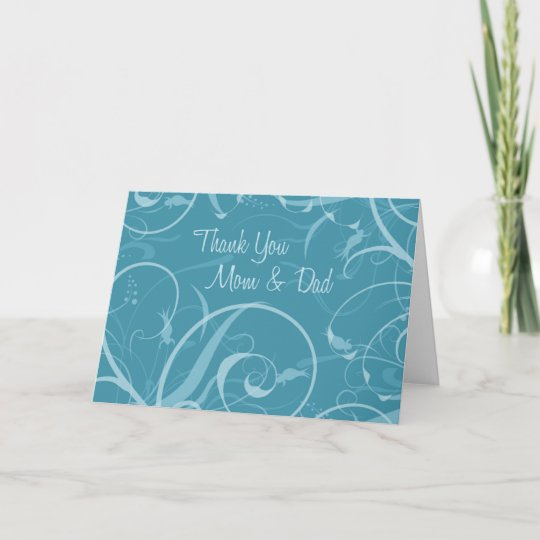 Turquoise Parents Wedding Day Thank You Card Zazzle Com