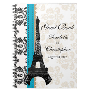 Turquoise Parisian Eiffel Tower Wedding Guest Book Spiral Note Book