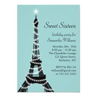 Turquoise Parisian Sweet 16 Invitation