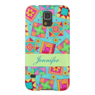 Turquoise Patchwork Quilt Block Art Custom Case For Galaxy S5