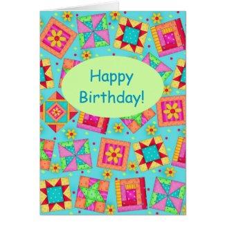 Turquoise Patchwork Quilt Block Art Happy Birthday Card