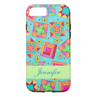Turquoise Patchwork Quilt Block Art Name iPhone 7 Case