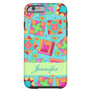 Turquoise Patchwork Quilt Block Art Name Tough iPhone 6 Case