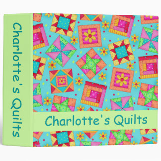 Turquoise Patchwork Quilt Name Personalized Album 3 Ring Binder