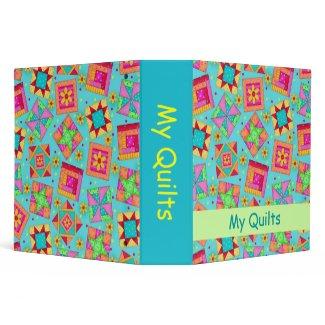 Turquoise Patchwork Quilt Personlizable Album Vinyl Binders