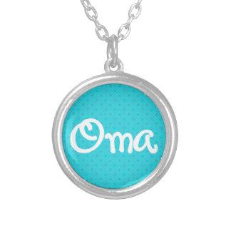 Turquoise Pattern Oma Round Pendant Necklace