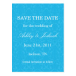 Turquoise Pattern  Save The Date Post Cards
