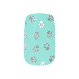 Turquoise Pawprint Minx Nail Wraps