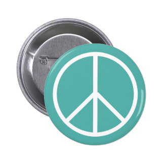 Turquoise peace pinback button
