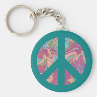 Turquoise peace sign abstract art piece key ring basic round button keychain