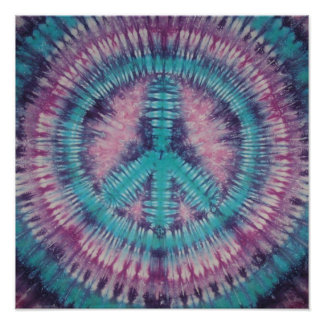 Turquoise Peace Sign Tie Dye