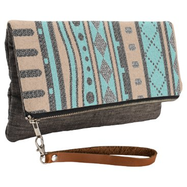 Aztec Themed Turquoise Peach & Gray Tribal Pattern Clutch