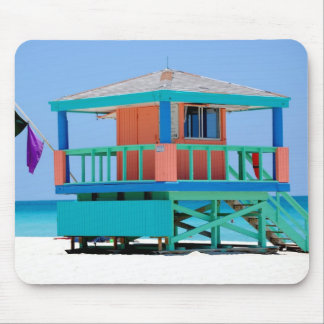 turquoise peach lifeguard stand mouse pad