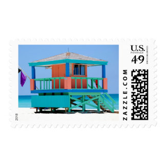 turquoise peach lifeguard stand postage