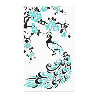 Turquoise peacock and cherry blossoms custom canvas print