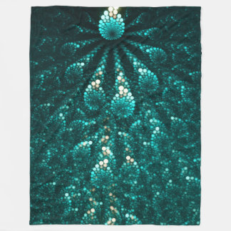 Turquoise pearl galaxy. Fractal composition Fleece Blanket