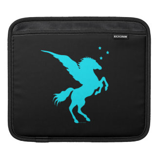 Turquoise Pegasus Black iPad Sleeve