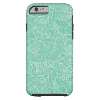 Turquoise Peony Pattern Tough iPhone 6 Case