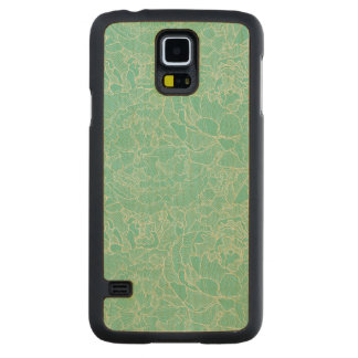 Turquoise Peony Pattern Carved® Maple Galaxy S5 Slim Case