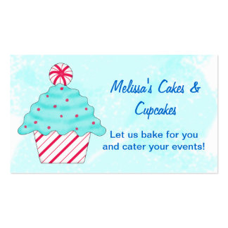 Turquoise, Peppermint Chrismas Cupcake Baking Business Card