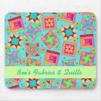 Turquoise Personalized Quilt Blocks Mousepad
