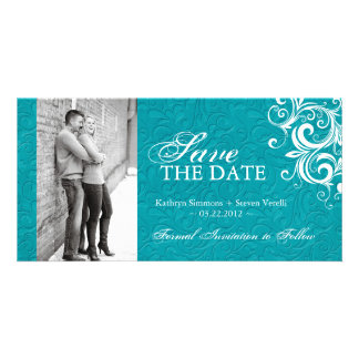 Turquoise Photo Save The Date Invitation