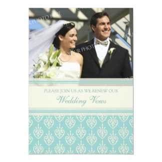 Turquoise Photo Wedding Vow Renewal Invitations