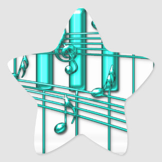 Turquoise Piano Keyboard Star Sticker