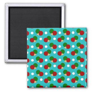 Turquoise ping pong pattern fridge magnet
