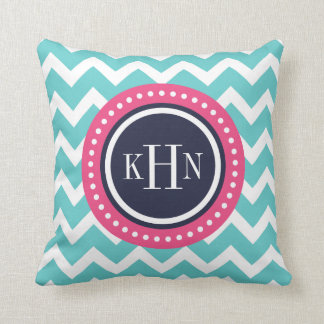 Turquoise Pink and Navy Chevron Monogram Pillows